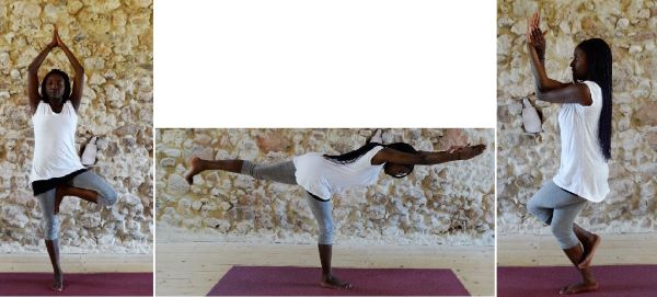 aarden: yoga balance poses tree warrier 3 eagle - yoga balans houdingen
